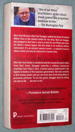 Photo of paperback book, The 47th Samurai by Stephen Hunter, rear cover.