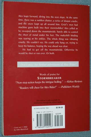 Photo of softcover book Point Break by Anthony Horowitz, rear cover