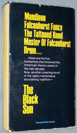 Photo of paperback book The Black Sun by Lance Horner and Kyle Onstott, rear cover