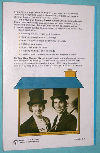 Photo of softcover book Be Your Own Chimney Sweep, Christopher Curtis and Donald Post, rear cover.