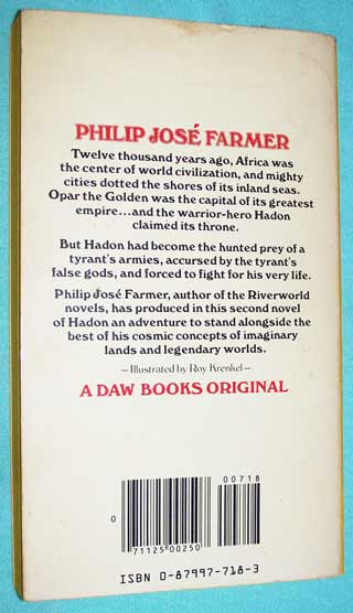 Photo of paperback book Flight To Opar by Philip Jose Farmer, rear cover.
