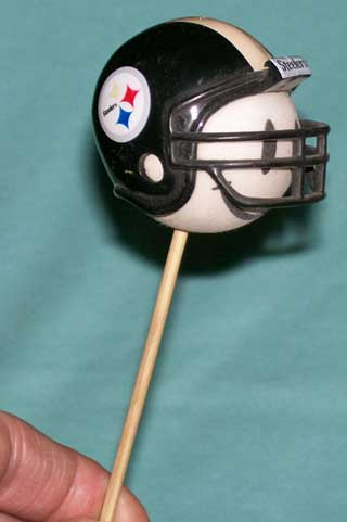 Photo of Pittsburgh Steelers Antenna Helmet mounted on a stick