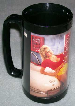 Photo of Snap-On Tools Insulated Coffee Mug - 1987. Two pin-ups - left side.
