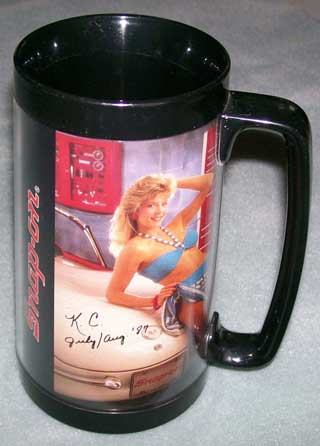 Photo of Snap-On Tools Insulated Coffee Mug - 1987. Two pin-ups - right side.