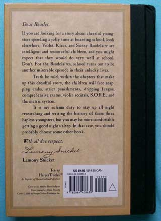 A Series of Unfortunate Events, The Austere Academy, Lemony Snicket, rear