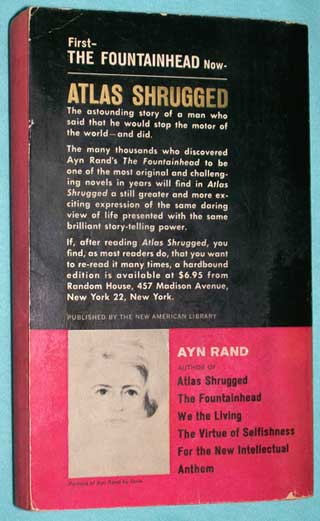 Photo of Atlas Shrugged by Ayn Rand, PB, rear cover