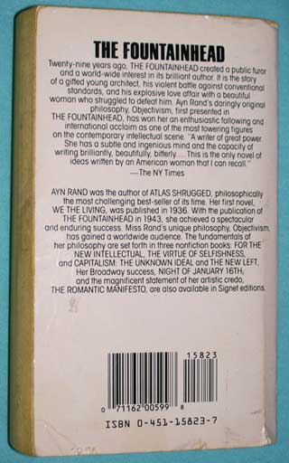 Photo of The Fountainhead by Ayn Rand, PB, rear cover