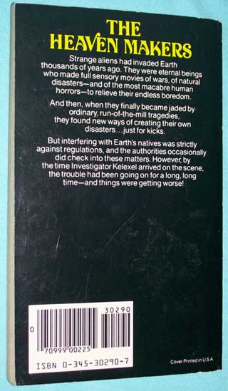 The Heaven Makers, Frank Herbert, rear cover