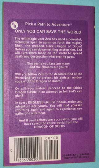 Endless Quest # 13 - Dragon of Doom, Rose Estes, rear cover