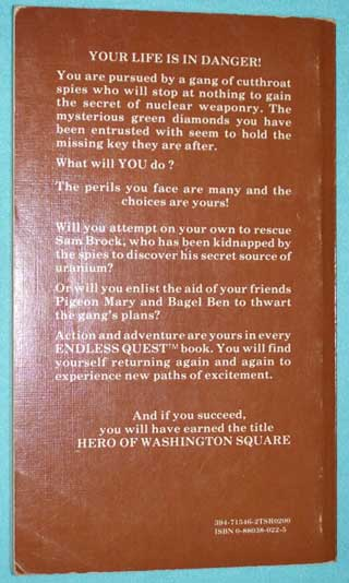 Endless Quest # 7 Hero of Washington Square, Rose Estes, rear cover