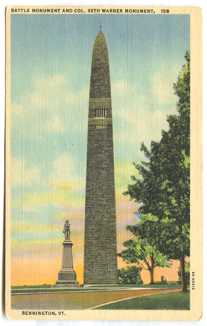 Photo of postcard - Battle Monument & Colonel Seth Warner Monument Bennington, Vermont.