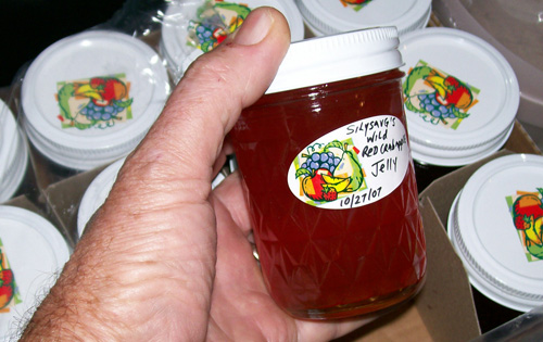 a jar of silysavg's Wild Red Crabapple Jelly