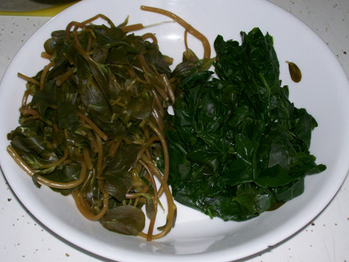 Photo of purslane and lambsquarter, steamed with butter added.