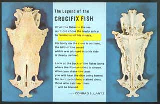 Crucifix Fish, fish bones shaped like Jesus on the cross