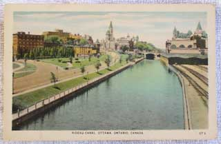 Photo of unused Canada postcard - Rideau Canal, Ottawa, Ontario, Canada - front.