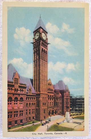 Photo of unused postcard - City Hall, Toronto, Canada - front