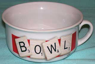 Photo of Ceramic Soup Bowl, excellent condition, showing Scrabble letter design