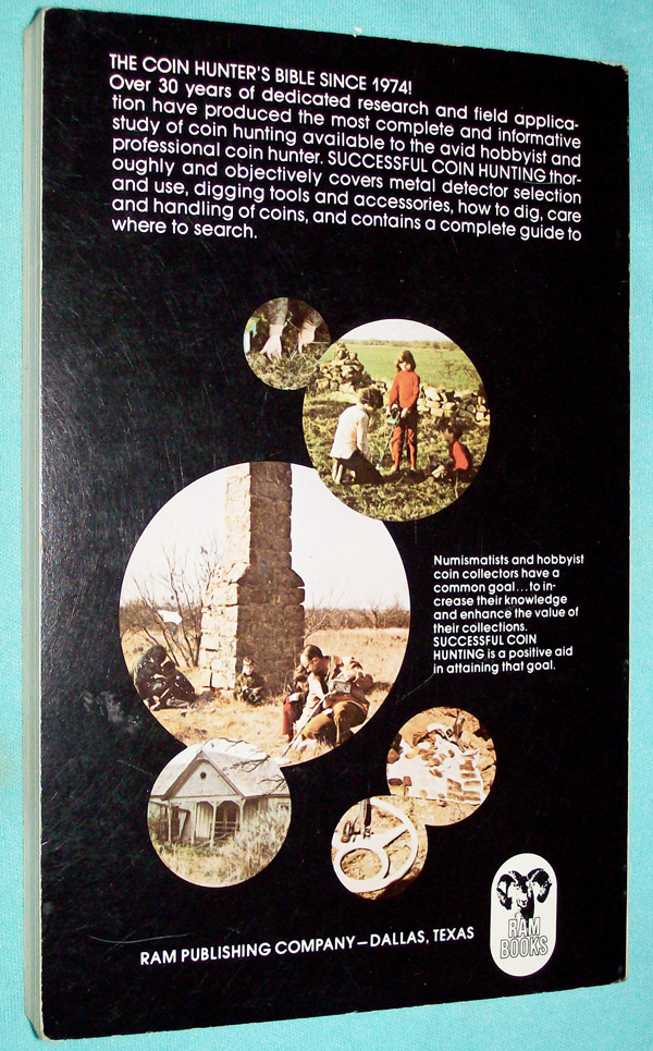 Photo of paperback book, Advanced Techniques Successful Coin Hunting by Charles L. Garrett, rear cover.