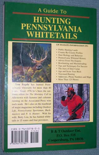 Photo of softcover A Guide To Hunting Pennsylvania Whitetails by Tom Fegely, rear cover.