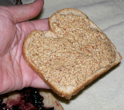 Close up photo of Freshly Made Peanut Butter on a slice of Whole Wheat Bread