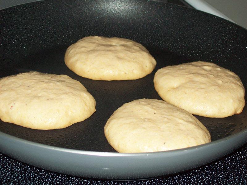 photo showing how the pancakes puff up as cooking.